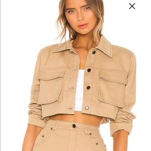 h:ours tan cropped jacket with shoulder pads